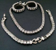 Vtg Signed CROWN TRIFARI Deco Necklace Bracelet SET Mssing 1 Rhinestones Q72