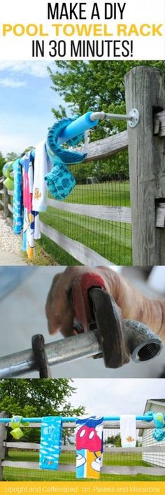 Learn how to make an on fence DIY pool towel rack for outdoor use with this easy to follow tutorial! Make it in under 30 minutes. It's a great idea for the swimming season!