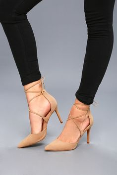 cacd283a6a40 The Marie Taupe Suede Lace-Up Heels are the hit of any party! Velvety