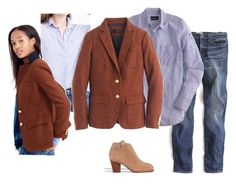 """""""Rhodes Copper Multi Boyshirt True Blue Otter Billlie Boots"""" by justvisiting ❤ liked on Polyvore featuring J.Crew, Madewell, women's clothing, women's fashion, women, female, woman, misses and juniors"""