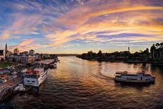 Boats on the Valdivia River Another beautiful summer evening in the south of Chile! National Road, Rio Grande Do Norte, 11th Century, Summer Sunset, Lake District, New York Skyline, Boat, Tours, River