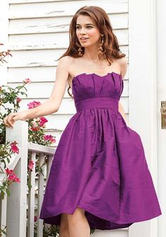 Short Purple Bridesmaid Dresses - this is kind of the style I want for my bridesmaids dresses, but looks like I would be leaning towards red and black as the colors. Party Fashion, High Fashion, Bridal Accessories, Horde, Strapless Dress Formal, Peacock, Princess, Simple Lines, Formal Dress