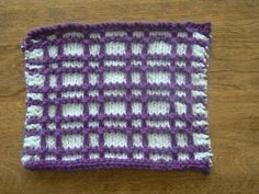 Beautiful Black Currant and White Hand Knit Dishcloth or Washcloth