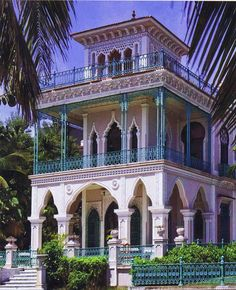 Grand mansion from the opulent world of the Spanish Creole aristocracy of the colonial period. Found in Cuba.