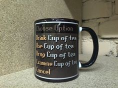 RS Mug Cup of Tea item Runescape MMO Gaming mug by ItemHomeMade
