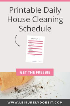 A daily cleaning schedule is an easy way to keep your house cleaning routine on track. Grab this free printable for a quick cleaning checklist by room. Daily Cleaning Checklist, Household Cleaning Schedule, Cleaning Schedule Printable, House Cleaning Tips, Cleaning Hacks, Cleaning Routines, Cleaning Solutions, House Journal, Clean House Schedule