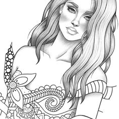 Adult coloring page fantasy girl portrait and clothes colouring sheet fairytale pdf printable anti-stress relaxing zentangle line art People Coloring Pages, Fairy Coloring Pages, Adult Coloring Book Pages, Printable Adult Coloring Pages, Coloring Pages For Girls, Cartoon Coloring Pages, Coloring Pages To Print, Coloring Books, Fantasy Girl