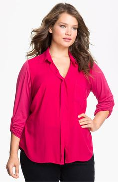Splendid Roll Sleeve Mixed Media Shirt (Plus size) available at #Nordstrom