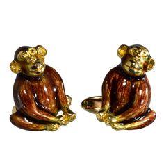 1stdibs | French Enamel Monkey Cufflinks, Boucheron