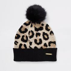 b67623d0222 Girls leopard print pom pom beanie hat