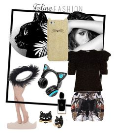 """Feline fashion"" by shaima-al-subaie on Polyvore featuring Betsey Johnson, Elie Saab, Chanel, Yves Saint Laurent, Brookstone, Kate Spade, Giorgio Armani and felinefashion"