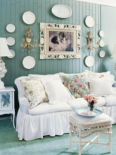 Plates, lamps and framed picture -nice