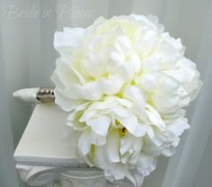 Romantic peony wedding bouquet ivory cream bridal bouquet silk wedding flowers. $95.00, via Etsy.