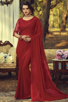 Online Shopping of Party Style Georgette Fabric Fancy Saree With Embroidered Blouse In Red Color from SareesBazaar, leading online ethnic clothing store offering latest collection of sarees, salwar suits, lehengas & kurtis Georgette Fabric, Georgette Sarees, Fancy Sarees, Party Wear Sarees, Net Blouses, Traditional Sarees, Indian Ethnic Wear, Party Fashion, Fashion Hub
