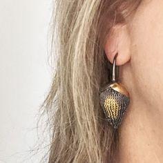 Golden-pod-earrings-model
