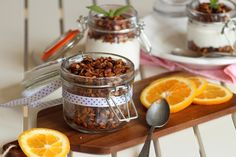 Pomerančová granola s čokoládou Granola, Muesli, Table Decorations, Center Pieces