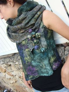 Nuno Felted Vest / Wrap with Brooch