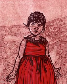 She gazes through a lacy rose patterned fog. Baby Girl original linocut and collograph by Sonia Romero