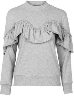 Petite ruffle sweatshirt Hoodies, Sweatshirts, Ruffle Blouse, Stylish, Womens Fashion, Clothes, Beauty, Tops, Outfits