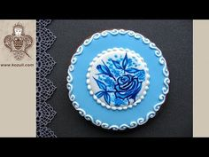 Cookie decorating. Hand painted cookie. Blue Rose Flower Cookie for Mother's Day - YouTube