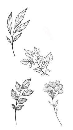 Flower Art Drawing, Flower Sketches, Floral Drawing, Art Drawings Sketches, Tattoo Sketches, Tattoo Drawings, Flower Tattoo Designs, Flower Tattoos, Flower Doodles