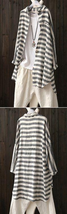 Casual Striped Lapel Batwing Sleeve Irregular Hem Shirt #shirt #tops #summer