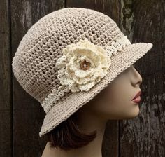 ***This is a made to order item. *** This hat is hand crocheted in soft 100% cotton yarn. The hat band and flower are made from fine crochet