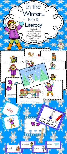 There are a lot of fun things to do in the winter. Your students will enjoy reading and learning about them. Included are: A lapbook to read aloud that introduces the concept of winter and some vocabulary. A sample anchor chart and whole group lessons A student reader color and black and white, . Action word picture and word cards for matching at the pocket chart. Winter word wall cards. 8 write the winter word cards 8 initial sound cards A color cover and student writing page