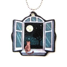 Kitty Cat Sitting by A Window Animal Pendant Necklace | Handmade Shrink Plastic