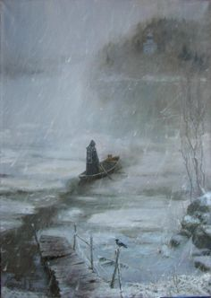 Vladimir Kireev, To the other side, 2007 (Oil on canvas) Moonlight Painting, Ukrainian Art, Fantasy Inspiration, Russian Art, Environmental Art, Sacred Art, Christian Art, Kirchen, Religious Art