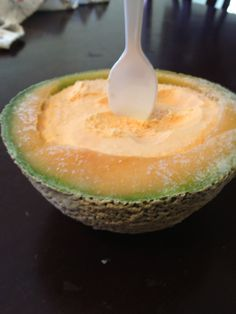 Cantaloupe ice cream.. If only I could eat some. It looks delicious!!