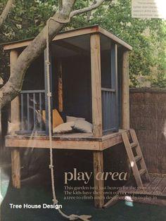 Backyard Trees, Backyard Playground, Backyard For Kids, Garden Kids, Beautiful Tree Houses, Cool Tree Houses, Kids Playhouse Plans, Build A Playhouse, Simple Tree House