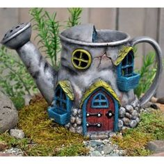 Miniature Garden Fairy House Old Watering Can in Outdoor Gnome Hobbit Cottage Watering Cans, Clay Fairy House, Fairy Village, Clay Fairies, Fairy Furniture, Resin Furniture, Fairy Garden Houses, Fairy Gardening, Miniature Fairy Gardens