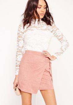 High Neck Lace Long Sleeve Bodysuit White