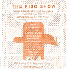 Just got added to this riso show, happening tomorrow! Come through and check out some dope prints by these amazing artists! @asissued @rawblades #oc #costamesa #riso #risograph #art