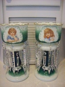 Victorian mantle lusters | 1880's Gorgeous Huge Victorian Children