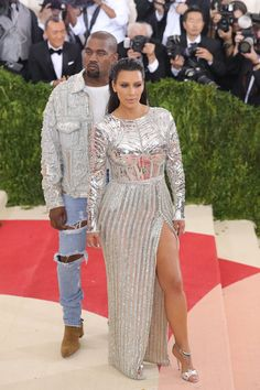Pin for Later: Kim and Kanye Continue Their Matchy-Matchy Streak — and It's Really Quite Romantic Kim and Kanye Twinning at the Met Gala Wearing Balmain.