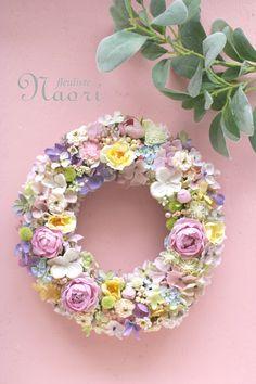 スプリングパステル ローズのリース Pastel color wreath