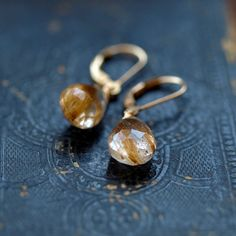on book || Golden Rutilated Quartz Earrings Gold Filled by ShopClementine