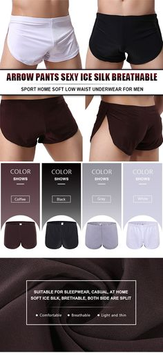Arrow Pants Sexy Ice Silk Breathable Sport Home Soft Low Waist Underwear for Men