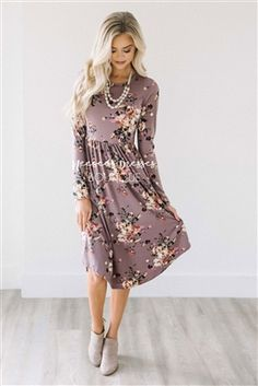Dusty Lilac Floral Pocket Dress, Modest Dress Bridesmaids Dress, best modest boutique, cute modest clothes, modest dresses, best online modest boutique, floral dresses, modest dresses for church, modest skirts, buy modest clothes online