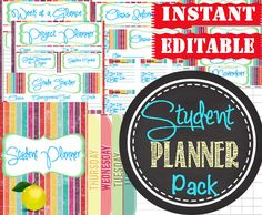 Get ready for back-to-school and organize the kids with this amazing Student Planner Pack.  EDITABLE and perpetual so you can use for ALL kids year after year!  A huge saver vs. buying new student planners every year