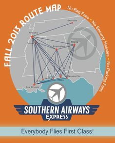 Southern Airways Express Route Map Cropped