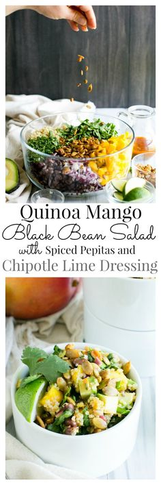 Quinoa Mango Black Bean Salad with Smoky Pepitas and Chipotle Lime Vinaigrette | Vanilla And Bean