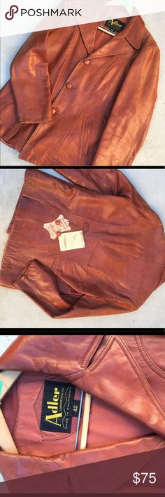 Vintage Adler Mens Leather jacket, very classy This jacket still has leather smell, still soft & pliable, shows wear in color only..leather covered buttons.  Lining still perfect...ask questions, make an offer...have in time for holidays Adler Jackets & Coats