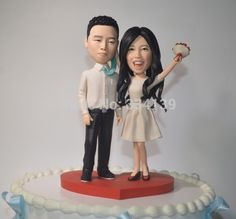 custom wedding cake topper polymer clay figure funny topper 3D cartoon topper fimo topper