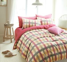 Stripes And Plaids Rose Bedding Girls Bedding Teen Bedding Kids Bedding