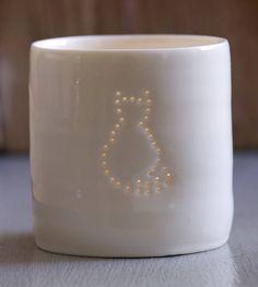 porcelain cat tea light by luna lighting | notonthehighstreet.com