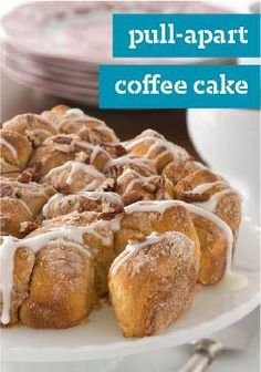 Pull-Apart Coffee Cake  Drizzled with glaze and topped with toasted pecans, this pull-apart coffee cake recipe will give you a reason to jump out of bed at breakfast time.