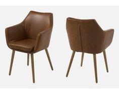 Homelike Skandynawskie Krzesło Emseleni brązowe ekoskóra nogi drewniane - 0000055607